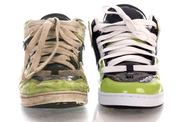 one new shoe and one worn out shoe